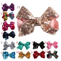 Wholesale girls glitter bow resale online - bow hairclip sweet baby girls sequin barrettes kids fashion elegant glitter children hair accessories colors MMA1294