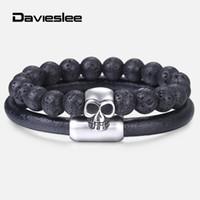 мужские кожаные бисерные браслеты оптовых-Fashion Black BeadsLeatherBraceletforMens StainlessSteel Skull Charm Wristband Mens Beaded Bracelets 2Pcs/Set LDLBF36