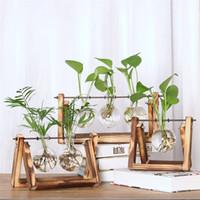 suluboya bitkileri vazosu toptan satış-Yaratıcı Topraksız Bitki Vazo Yüksek Dereceli Şeffaf Ahşap Çerçeve Konteyner Morden Masaüstü Dekor Süs Sıcak Satış 15fm Ww