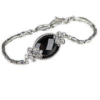 cadenas de plata de ley de china al por mayor-Moda China Style 925 Sterling Silver Link Chain Negro Onyx Pulsera para Mujer Chica Regalo Joyería