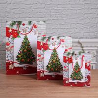 yeni hediye kağıdı toptan satış-Noel çanta hediye çantası büyük paket şarap 2019 yeni stil Noel ağacı hayvan tote kağıt torba giysi