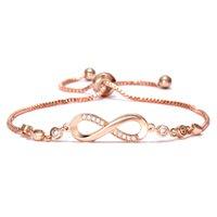 unendlichkeit silber freundschaft armbänder großhandel-Kristall Armband Silber Rose Gold Farbe Einstellbar Unendlichkeit 8 Charme Armbänder für Frauen Freundschaft Modeschmuck
