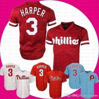 tamaños de jersey de base fresca al por mayor-Béisbol Jersey Philadelphia 3 Bryce Harper Phillies Cool Base Jersey Envío gratis tamaño hombres m-xxxl