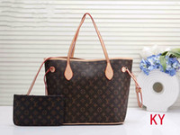 Wholesale leather handbags sales for sale - Group buy 2019 Sale L Letter NEVERFULL Leather Handbag Brown Old Flower Pink Bag Printing Purse Womens Fashion Bags Girls Shopping Bag