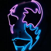 boyama tutkalı toptan satış-EL Led Parlayan Cadılar Bayramı Yüz Maskesi Sokak Dansı El-Boyamış Pvc Tutkal Alın Soğuk Işık Maskesi