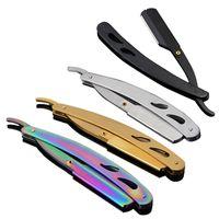 jilet şekillendirme jilet toptan satış-Vintage Düz Jilet Katlanabilir Kolu 420 Paslanmaz Çelik Tıraş Sakal Saç Kesme Kaş şekillendirme