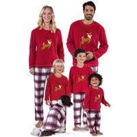 ropa de aspecto familiar al por mayor-Sanderala Christmas Pyjamas Family Look Pants Set Santa Deer Top Mujeres Mommy and Me Blusa Pantalones Ropa de dormir Niños Ropa para el hogar