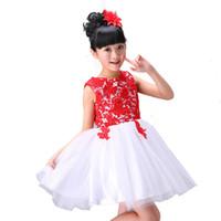 rote chinesische kleidung großhandel-Mädchen Kleid chinesische Kleidung für Kinder Blume ärmelloses Kleid Kinder Prinzessin Mädchen Kleidung rot bestickt im chinesischen Stil für 3-12 Jahre alt