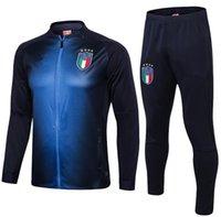 italya ceketleri toptan satış-2019 Dünya Kupası İtalya futbol Forması ceket EĞİTİM SUITI De Rossi Bonucci Verratti Chiellini INSIGNE Belotti Futbol Üniforma TRACKSUIT SPOR