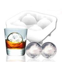 utensilios de hielo al por mayor-Alta calidad de bolas de hielo fabricante de utensilios Gadgets molde 4 whisky celular cóctel redondo superior de la barra del partido de las esferas de cocina Herramientas bandeja de cubitos