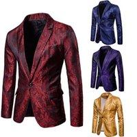 trajes de color azul marino al por mayor-Elegante estilo de los hombres Slim Fit Formal de un botón Blazer Abrigo chaqueta Chaqueta Tops Oro Rojo Púrpura Azul marino M-3XL