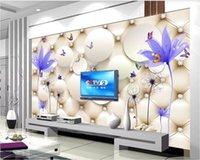 ingrosso sacchetto di acqua cinese-3d carta da parati personalizzata foto murale Elegante fiore trasparente acqua dente di leone cinese borsa morbida sfondo muro home decor wall art immagini
