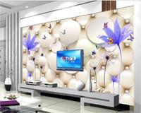 bolsa de agua china al por mayor-Papel tapiz 3D personalizado foto mural Elegante flor transparente agua diente de león chino bolsa suave fondo pared decoración para el hogar arte de la pared fotos