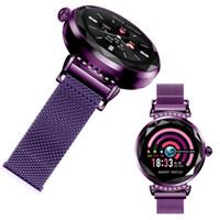 pulseras para mujer usa al por mayor-Pulsera inteligente para mujer Pulsera inteligente Impermeable Ritmo cardíaco Presión arterial Smartband para Mujeres Relojes de banda de acero Reloj H2