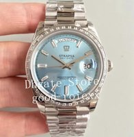 Wholesale blue watches for men for sale - Group buy Watches For Men Blue Black Silver Rectangle Diamond EW Factory Automatic Cal Watch Men s Day Date Crown TBR President Eta Swiss