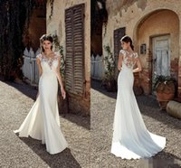 Wholesale cheap custom wedding dresses for sale - 2019 New Designer Beach Mermaid Wedding Dresses Sexy Lace Applique Sheer Neck Floor Length Bohemian Cheap Wedding Dress Bridal Gowns