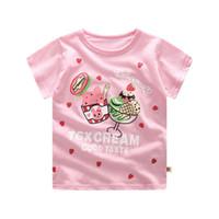 bebek kızları pembe tee toptan satış-2019 Çocuklar Yaz Giyim Kız pembe Tees Kostümleri Tops Kızlar Kısa T-shirt Elbise Bebek T Gömlek Çocuk Tshirt