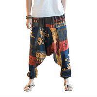 Wholesale print wide pants elastic waist resale online – New Hip Hop Baggy Cotton Linen Harem Pants Men Women Plus Size Wide Leg Trousers New Boho Casual Pants Cross pants