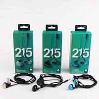 коробка для наушников оптовых-SE215 Проводные наушники-вкладыши-наушники с микрофоном Новый пакет Eurbuds с шумоподавлением с сохранением коробки HIFI гарнитура бесплатная доставка DHL
