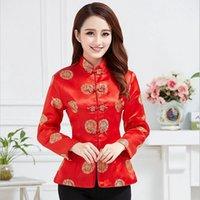chaqueta de satén rojo mujer al por mayor-Chaqueta de satén de seda tradicional china para mujer Traje de boda Tamaño S M L XL 2XL 3XL