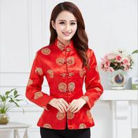 veste de satin rouge femmes s achat en gros de-Veste en satin de soie pourpre traditionnelle chinoise des femmes de manteau rouge de costume de mariage taille S M