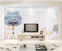 oturma odası minimalist duvar kağıdı toptan satış-WDBH 3d fotoğraf duvar kağıdı özel duvar Modern minimalist manzara elk zengin ağacı ev dekor oturma odası duvar kağıdı duvarlar için 3 d