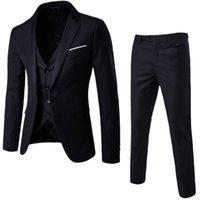 ingrosso due bottoni uomo di giubbotto-Spedizione gratuita (tuta + gilet + pantaloni) Set da 3 pezzi / Giacca da uomo un blazer e due bottoni giacca blazer giacca + pantaloni + gilet