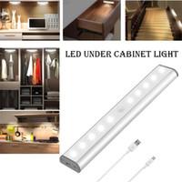 dolap dolabı açtı toptan satış-LED Altında Kabine Işık PIR Hareket Sensörü Lamba Dolap Dolap Dolap Mutfak gece lambasının aydınlatma 10 LED'ler