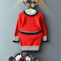 melhores roupas de bebê menina venda por atacado-2019 Outono Inverno meninas ternos camisola crianças roupas crianças roupas meninas melhores ternos camisola de malha + Lápis Saias 2 pcs A7214
