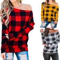 Wholesale off shoulder long tops resale online - Women Off Shoulder Plaid Shirts Long Sleeves Slash Neck lattice T shirts Loose Blouse Tops Lady Spring Autumn Clothes Home Tees AAA1560