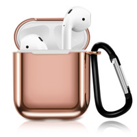 Wholesale mixing plate for sale - For Apple AirPods Plating Mirror TPU Case Protective Shockproof Charging Portable Earphone Cover Cases With Anti lost Hanging Keychain