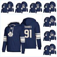 ingrosso hoodies foglia d'acero-Felpe con cappuccio Toronto Maple Leafs 2019 Frederik Andersen 91 John Tavares 16 Mitchell Marner 34 Matthews Qualsiasi nome Numero Pullover con cappuccio da hockey