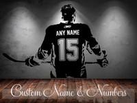 etiqueta de la pared nombre de la etiqueta al por mayor-Jugador de hockey Art Decal Sticker Elija Nombre Número Personalizado Decoración Del Hogar Pegatinas de Pared Para Niños Habitación Vinilos Paredes D645 Q190531