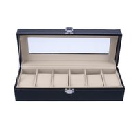 Wholesale wrist watch holders resale online - 6 Slots Wrist Watch Case Box Jewelry Storage Box with Cover Case Jewelry Showcase Watches Display Holder Organizer
