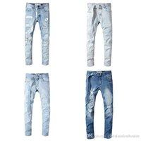 kazık atmak toptan satış-düz sıska mazgal kot erkekler beyaz yırtık kot kapalı 2019 Toptan Beyaz pantolon Jeanes tasarımcı pantolon