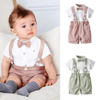 neues hübsches baby großhandel-New Handsome Summer neuer Baby-Herr-Herrenkrawatte kurzärmliges Hemd Lätzchen zweiteilig Anzug Kinderkostüme