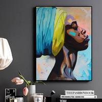 ingrosso cornici ritratti ad olio-1 Pz Contemplator African American Portrait Pittura a olio Poster su tela e stampe Immagine della parete di arte scandinava per soggiorno No Frame