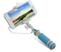 складные сотовые телефоны оптовых-Складная Super Mini Selfie Stick Проводной Ручной Выдвижной Портативный Монопод Проводная Ручка Затвора Совместим с Сотовым Телефоном
