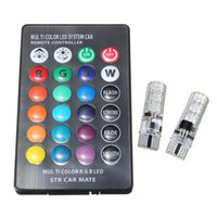 controlador de domo al por mayor-2 UNIDS RGB T10 W5W Led 194 168 W5W 5050 SMD Cúpula del coche Luz de lectura Automóviles Lámpara de cuña RGB Bombilla LED con mando a distancia