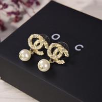 ingrosso ciondolano gli orecchini-2019 nuovi orecchini pendenti in ottone di alta qualità con orecchini e scatola con diamanti e perla