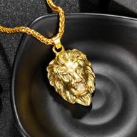 ingrosso collana della catena di modo della testa del leone-Gioielli Hip Hop Uomo Cinturino in oro con catene Collane per uomo Moda Collana con pendente a forma di testa di leone in acciaio inossidabile con animali di roccia