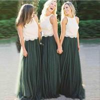 elfenbein hochzeitskleid grün großhandel-Elegante A-Linie 2 Farben Elfenbein Lace Top Emerald Green Tüllrock Brautjungfer Kleider lange Hochzeitsfeier