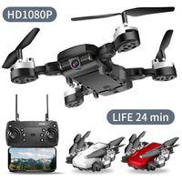 quadcopter dobrável venda por atacado-Drone 4K RC Quadrotor com câmera dobrável FPV Wifi Quadrocopter Grande Angular Reter RC Helicopter selfie Drone Professional