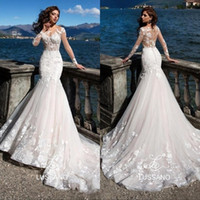 Wholesale gorgeous long lace black dress for sale - Group buy 2019 Gorgeous Mermaid Wedding Dresses Sheer Neck Illusion Long Sleeves Lace AppliqueS Court Train Beach Bridal Gowns