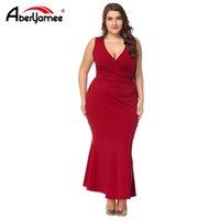 enge kleider party sommer großhandel-Plus size summer sexy v-ausschnitt rote dress frauen ärmellose spitze patchwork mantel dress unregelmäßige enge partei vestidos für weibliche