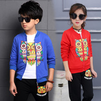 mädchen eulenhemd großhandel-Kinder Jungen Mädchen Kleidung Set Owl Print Kleinkind Baby Kleidung Sport Anzug 4-13Years Kids Trainingsanzug Jacke + Shirt + Pants