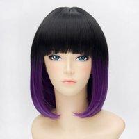 perruques harajuku pourpre achat en gros de-Perruque Cosplay Harajuku Bob Pourpre, Noir, Mixtes Lolita Mode Femmes