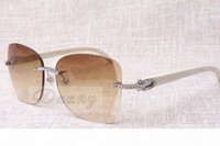 Wholesale 58 mm sunglasses for sale - Group buy Manufacturers selling frameless diamond sunglasses T8100905 high quality fashion sunglasses white angle glasses Size mm