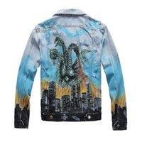 marcas de roupas vintage venda por atacado-Denim Jackets Men Jeans Jacket Magro Hip Hop roupas de marca Magro Casual Streetwear Vintage Mens Jean Vestuário Denim Jackets