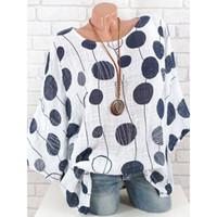 yuvarlak yarasa gömlekleri toptan satış-Kadınlar Büyük Dalga Nokta Baskılı Gömlek Moda Bayanlar Yuvarlak Boyun Yarasa Kollu Gevşek Gömlek Rahat Kadın Yarım Kollu Gömlek